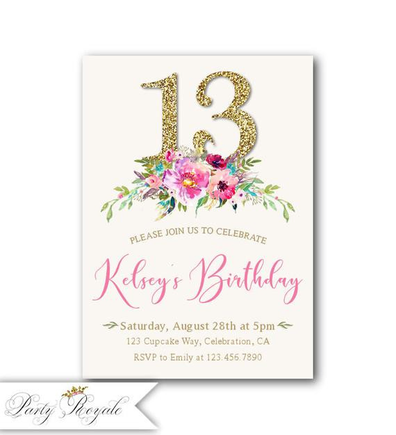 Best ideas about 13th Birthday Invitations . Save or Pin 13th Birthday Invitation girl Boho Birthday Invitations Now.