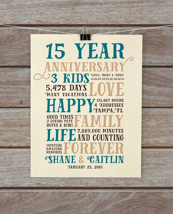 Best ideas about 15 Year Anniversary Gift Ideas For Her . Save or Pin Anniversary Gifts 15 Year Anniversary Present for Him Now.