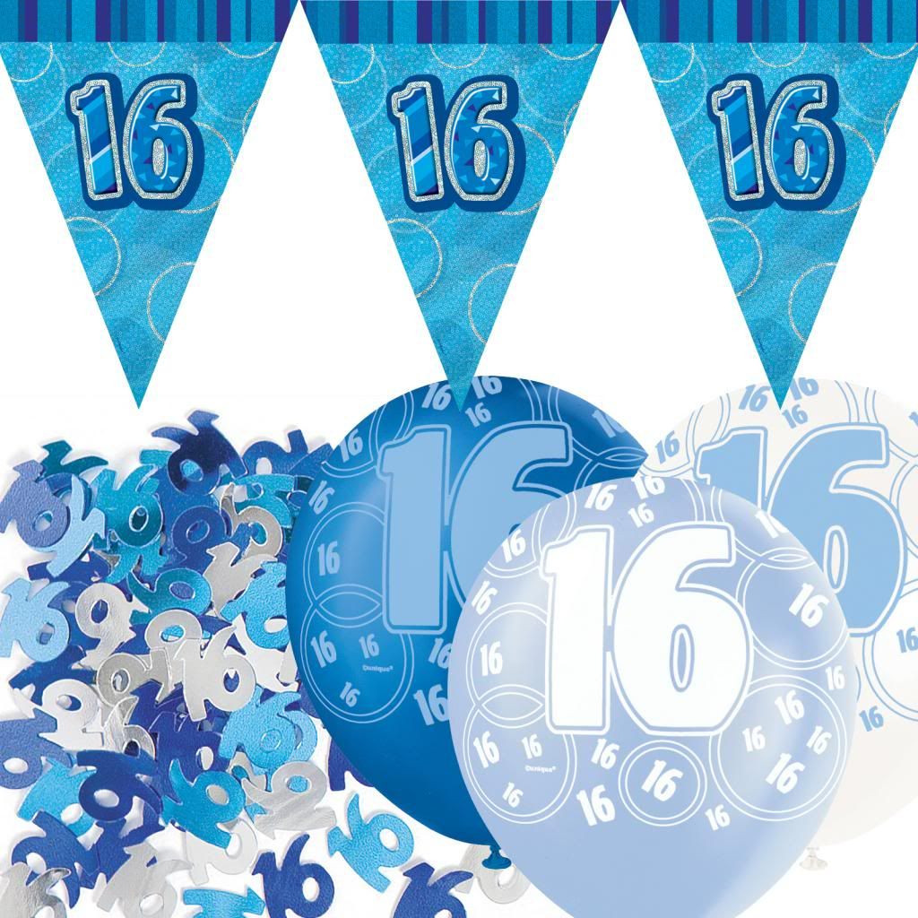 Best ideas about 16th Birthday Decorations For A Boy . Save or Pin Blue Silver Glitz 16th Birthday Flag Banner Party Now.