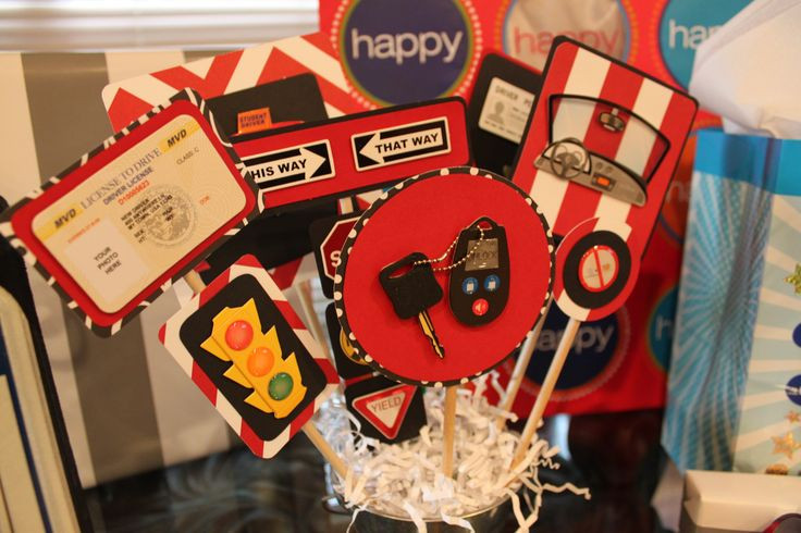 Best ideas about 16th Birthday Decorations For A Boy . Save or Pin New Driver 16th birthday centerpiece boy license cars Now.