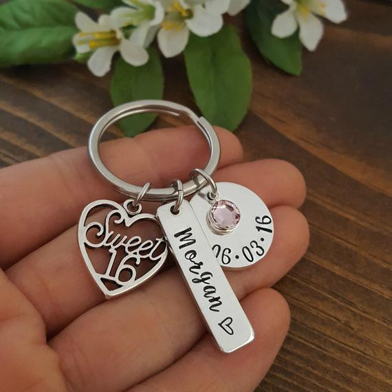 Best ideas about 16Th Birthday Gift Ideas For Daughter . Save or Pin Sweet 16 Keychain 16th Birthday Gift Personalized Sweet 16 Now.