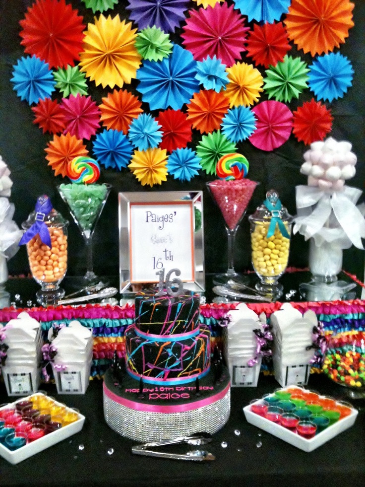 Best ideas about 16th Birthday Party . Save or Pin Bright Rainbow 16th Birthday Theme Now.