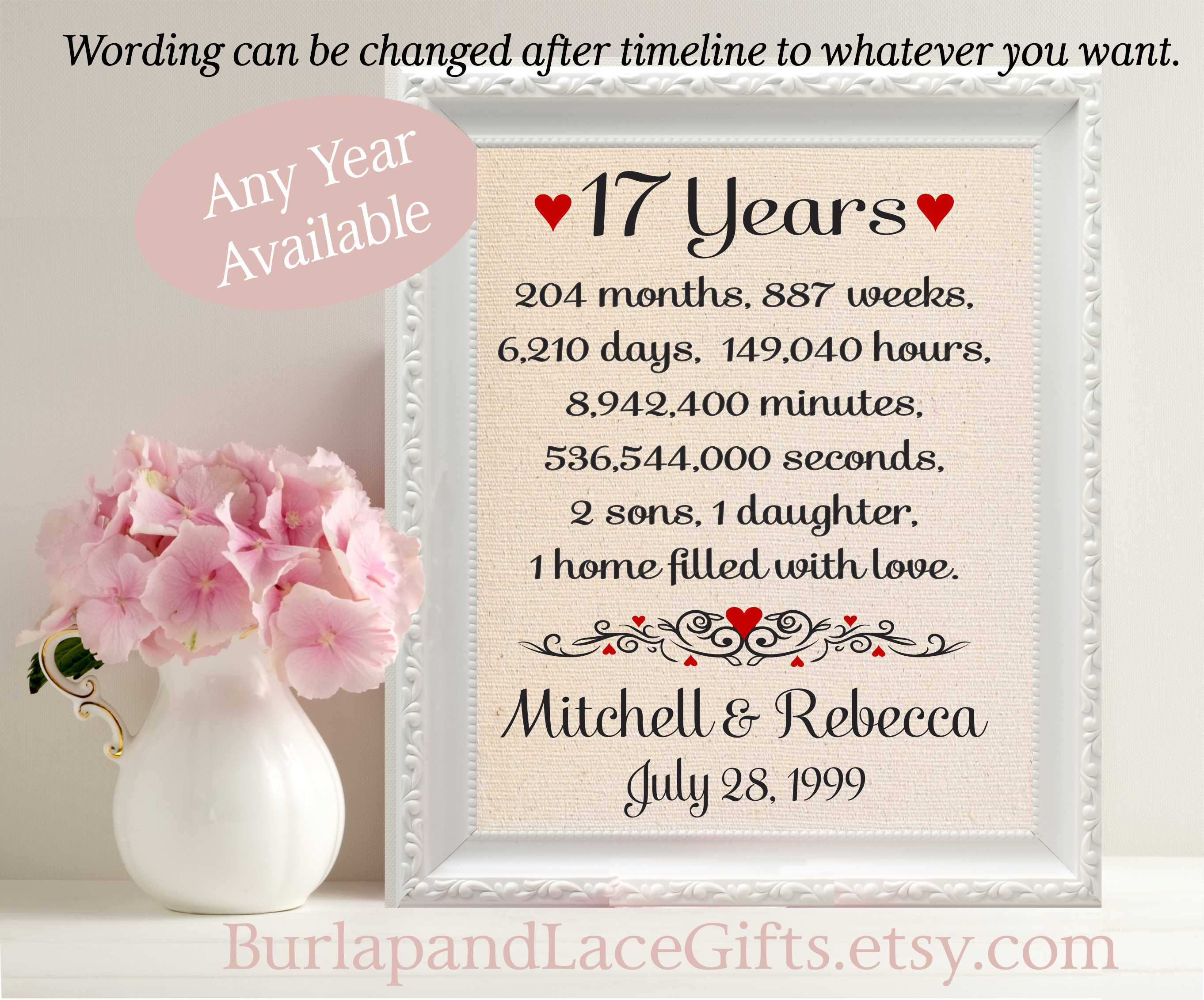 Best ideas about 17Th Anniversary Gift Ideas . Save or Pin 17th Anniversary Gift to Wife Anniversary Gift to Husband Now.