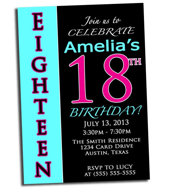 Best ideas about 18th Birthday Party Invitations . Save or Pin Items similar to 18th Birthday Party Invitation Pink Black Now.