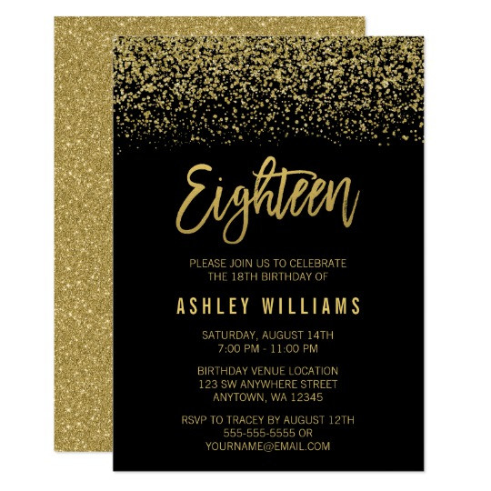 Best ideas about 18th Birthday Party Invitations . Save or Pin Modern Black Gold Faux Glitter 18th Birthday Invitation Now.