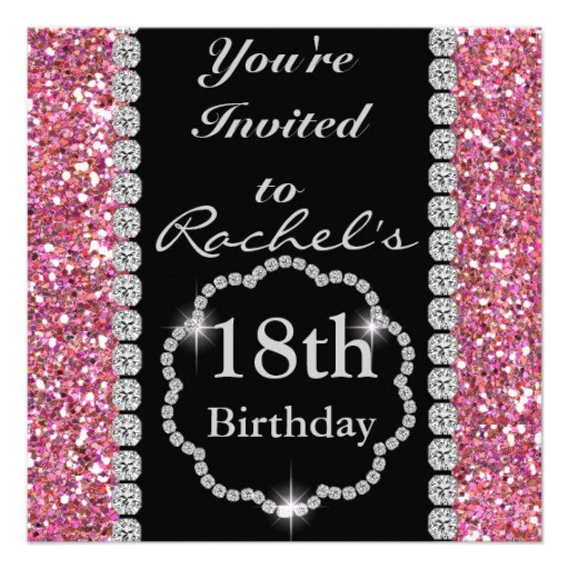 "Best ideas about 18th Birthday Party Invitations . Save or Pin 18th Birthday GLAM Invitation 5 25"" Square Invitation Card Now."