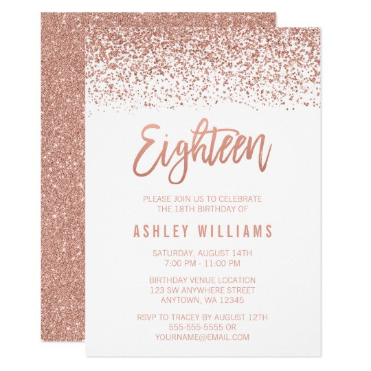 Best ideas about 18th Birthday Party Invitations . Save or Pin Modern Rose Gold Faux Glitter 18th Birthday Card Now.