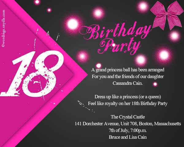 Best ideas about 18th Birthday Party Invitations . Save or Pin 18th Birthday Party Invitation Wording Wordings and Messages Now.