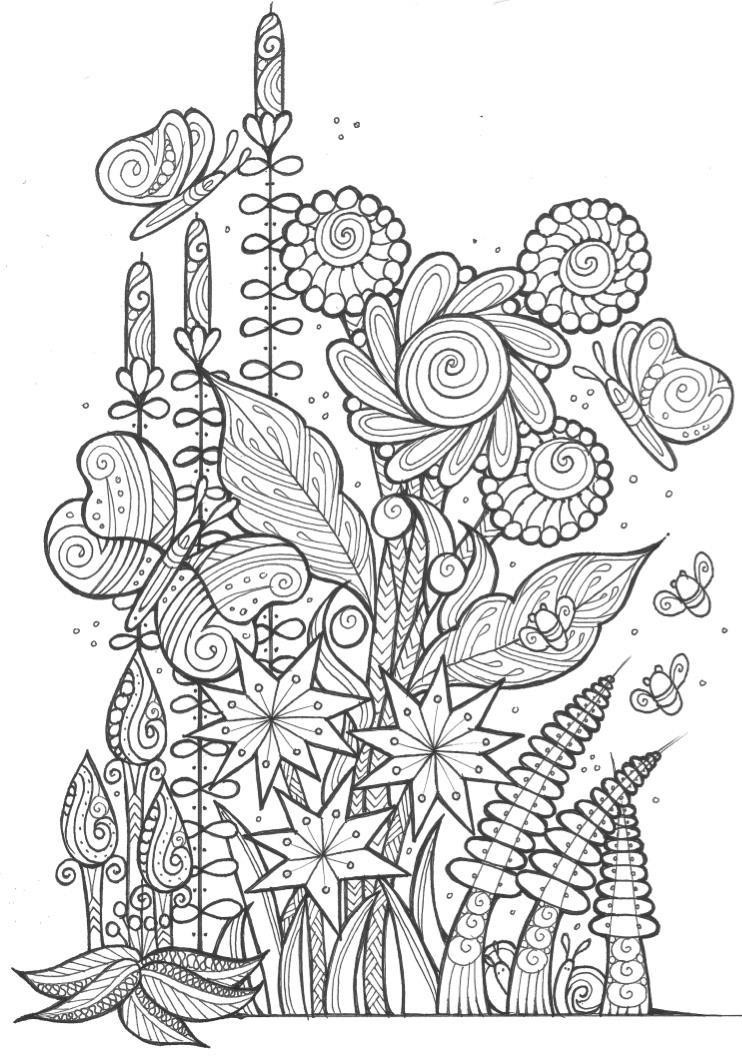 Best ideas about 1950'S Printable Coloring Pages . Save or Pin Butterflies and Bees Adult Coloring Page Now.