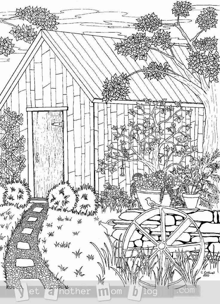 Best ideas about 1950'S Printable Coloring Pages . Save or Pin Coloring Page for Grown Ups Garden Scene Now.