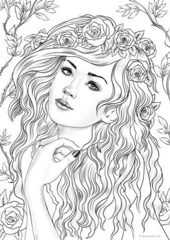 Best ideas about 1950'S Printable Coloring Pages . Save or Pin Nymph Printable Adult Coloring Page from Favoreads Now.