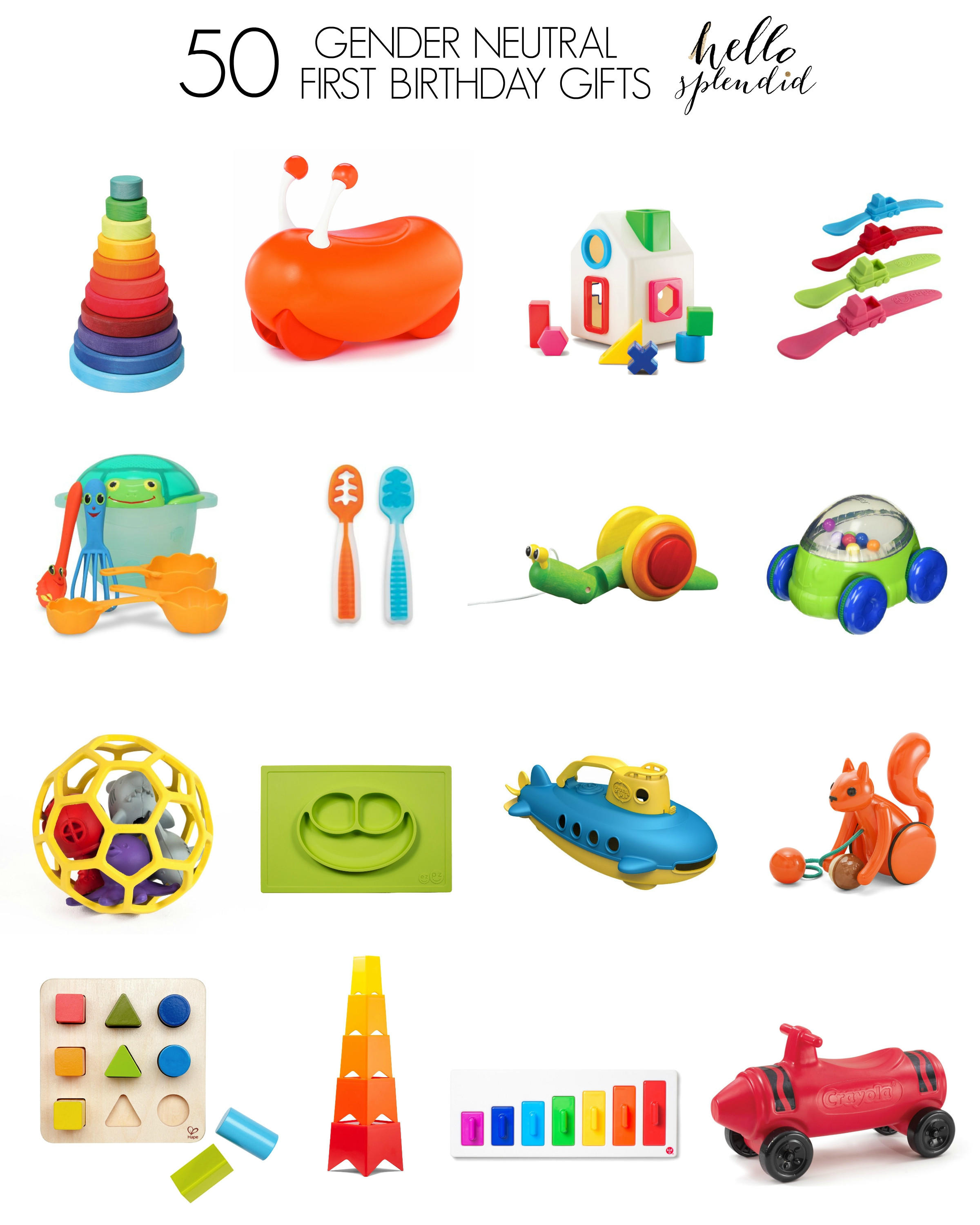Best ideas about 1st Birthday Gift Ideas For Boys . Save or Pin 50 Gender Neutral First Birthday Gifts Hello Splendid Now.