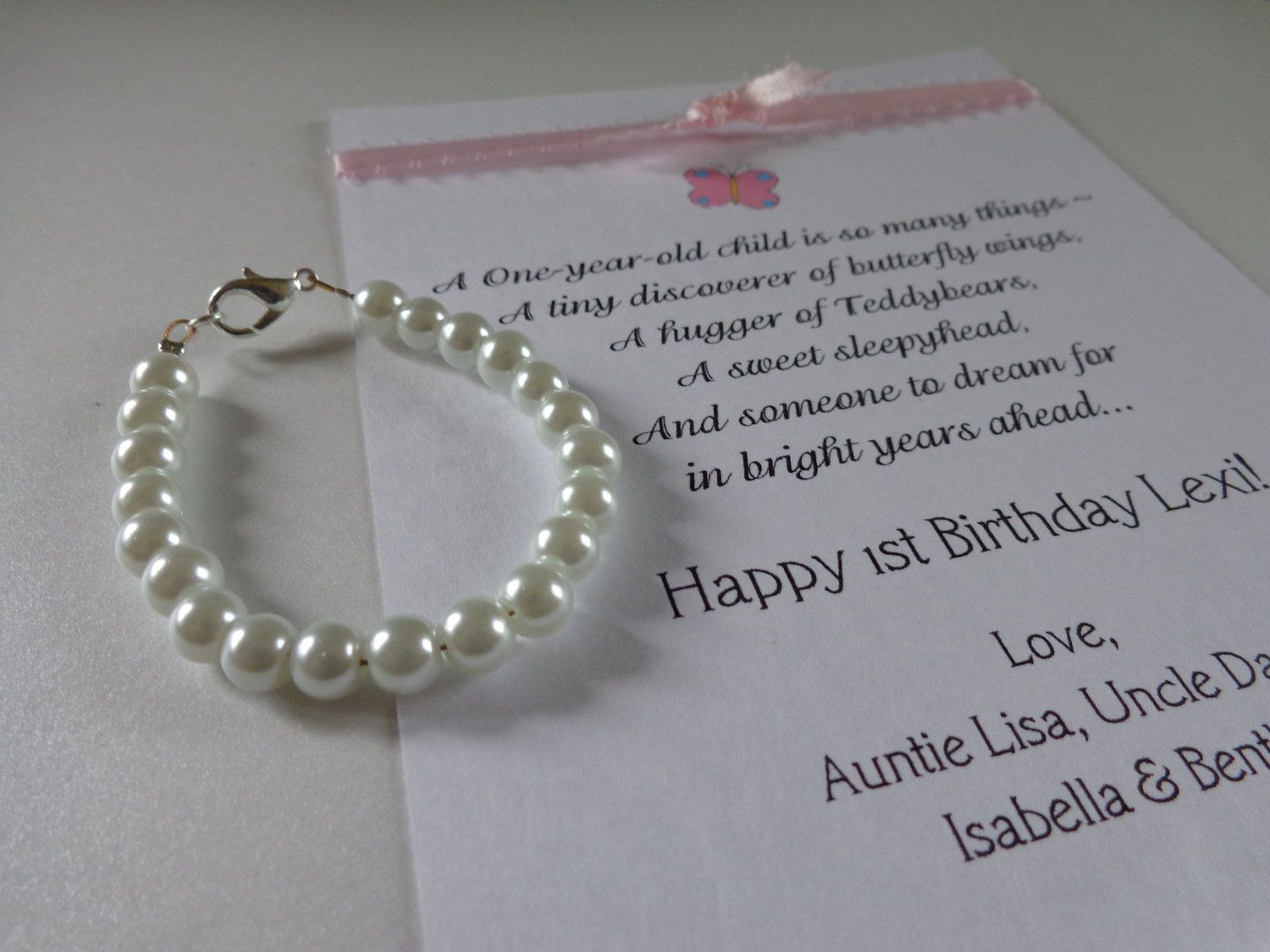 Best ideas about 1st Birthday Gifts For Girl . Save or Pin BABY GIRL 1st Birthday Gift Pearl Bracelet with Birthday Now.