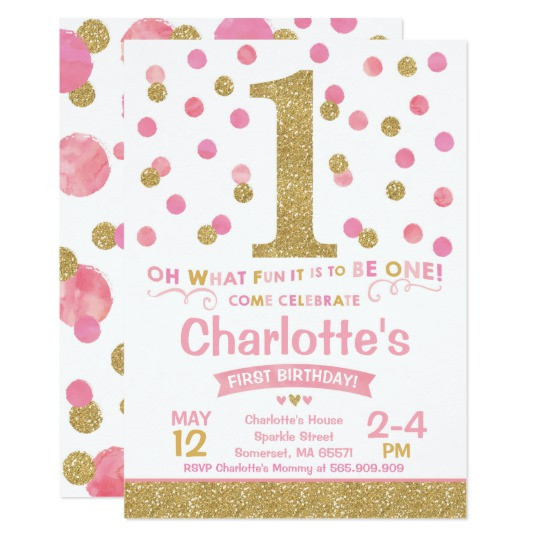 Best ideas about 1st Birthday Girl Invitations . Save or Pin Girl 1st Birthday Invitation Pink & Gold Confetti Now.
