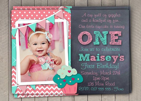 Best ideas about 1st Birthday Girl Invitations . Save or Pin Girls 1st Birthday Invitation First Birthday Cupcake Now.