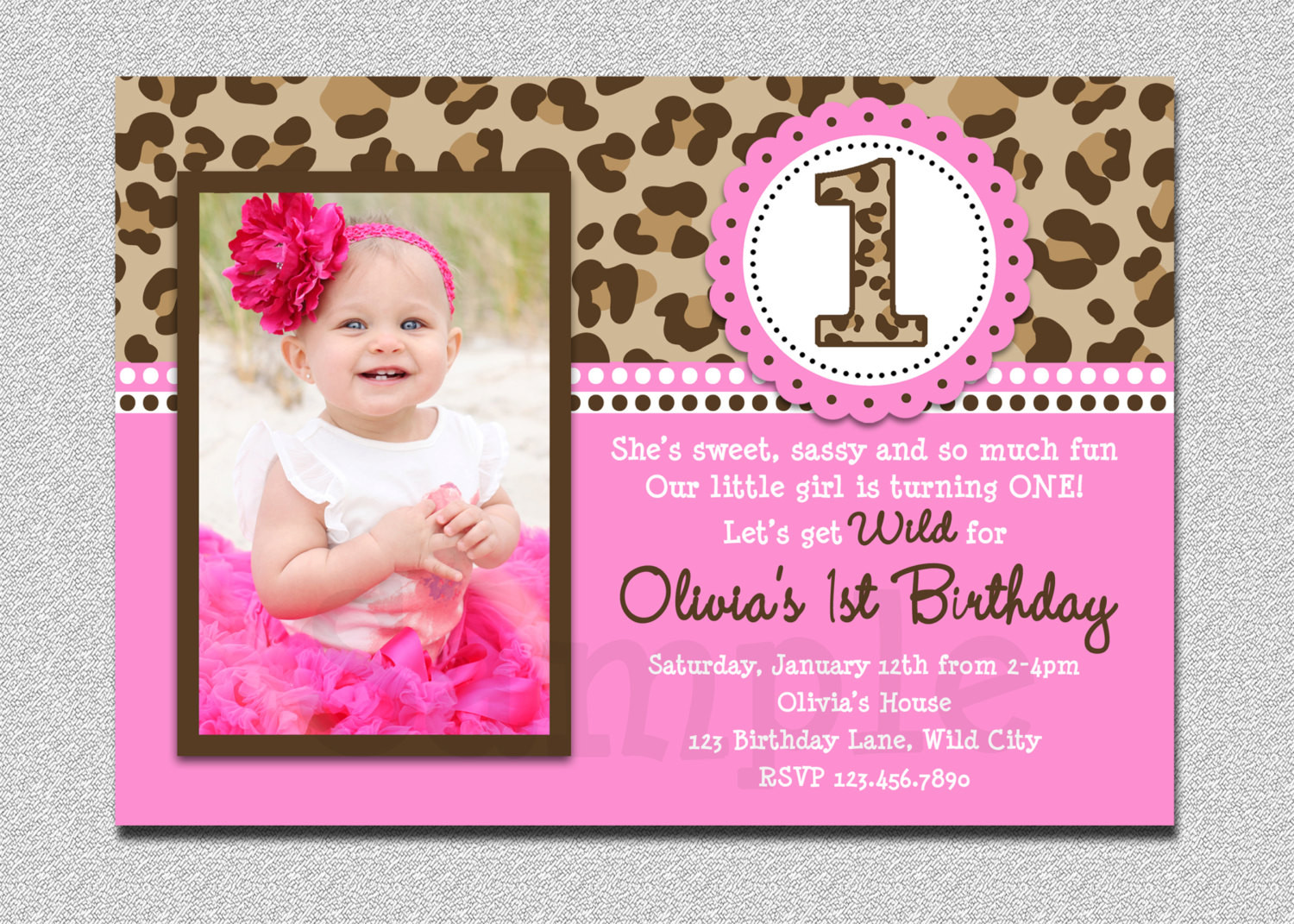 Best ideas about 1st Birthday Girl Invitations . Save or Pin Leopard Birthday Invitation 1st Birthday Party Invitation Now.
