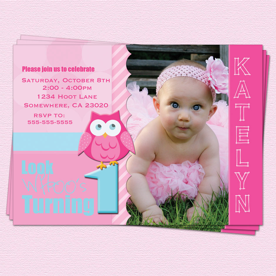 Best ideas about 1st Birthday Girl Invitations . Save or Pin Birthday Owl Invitations Girl 1st Birthday Look by Now.