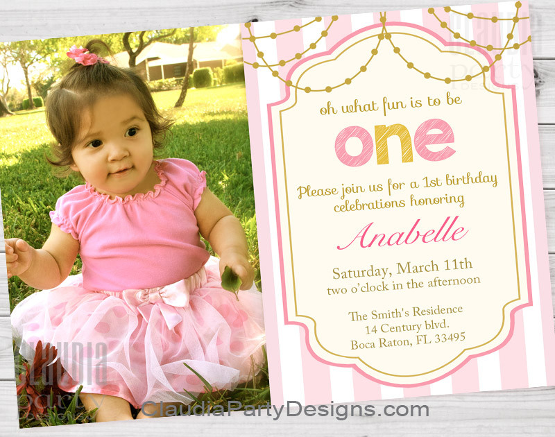Best ideas about 1st Birthday Girl Invitations . Save or Pin Girl First Birthday Invitations 1st Birthday Party Now.