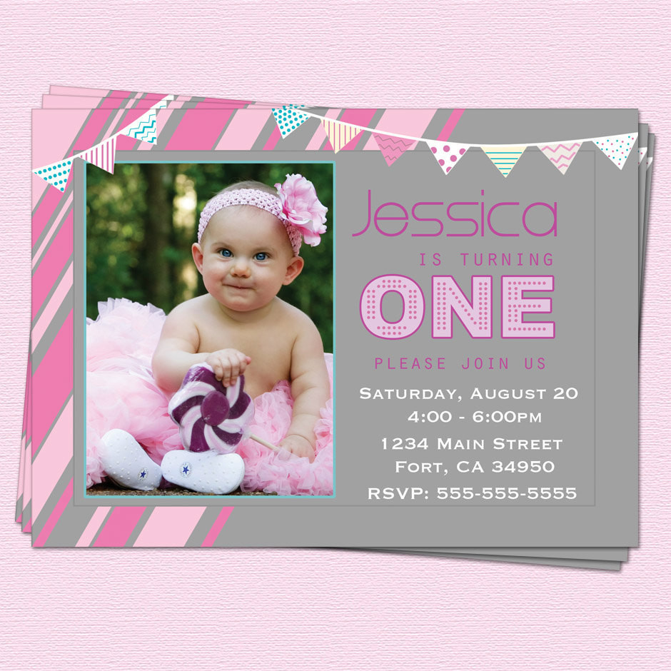 Best ideas about 1st Birthday Girl Invitations . Save or Pin 1st Birthday Invitations Girl Modern e Year by CupcakeDream Now.