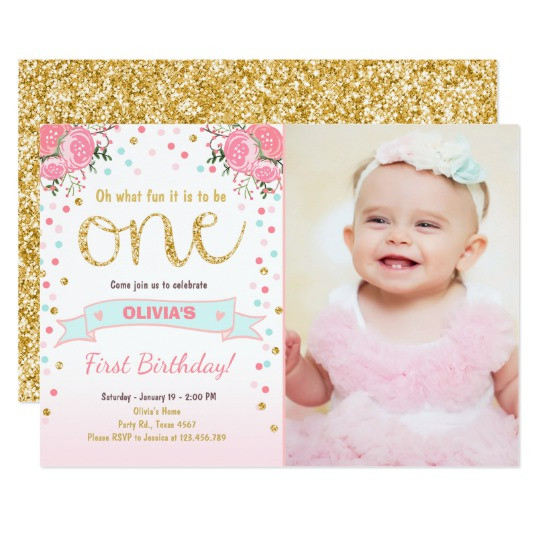 Best ideas about 1st Birthday Girl Invitations . Save or Pin Floral First birthday invite Girl Pink Gold Roses Now.