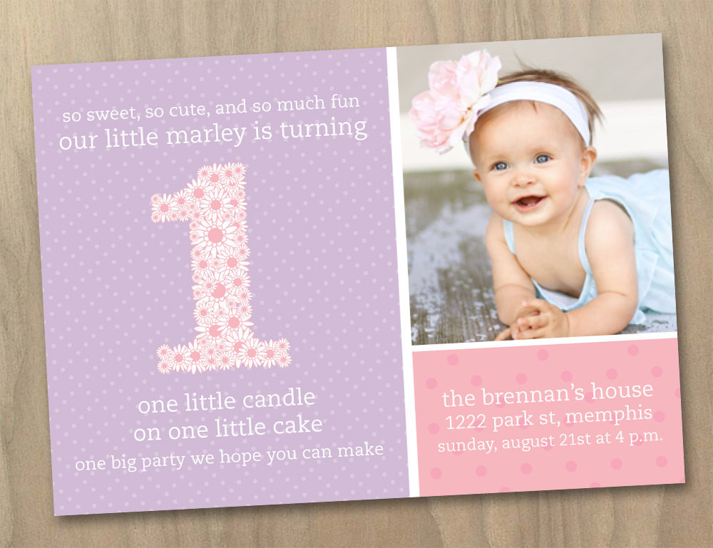 Best ideas about 1st Birthday Girl Invitations . Save or Pin Baby Girl First 1st Birthday Invitation Pink and Now.