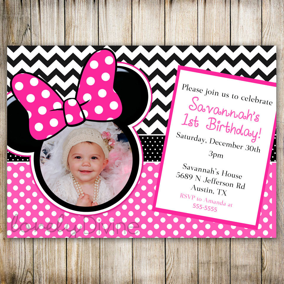 Best ideas about 1st Birthday Minnie Mouse Invitations . Save or Pin Minnie Mouse Chevron Birthday 1st Birthday Invitation 2nd Now.
