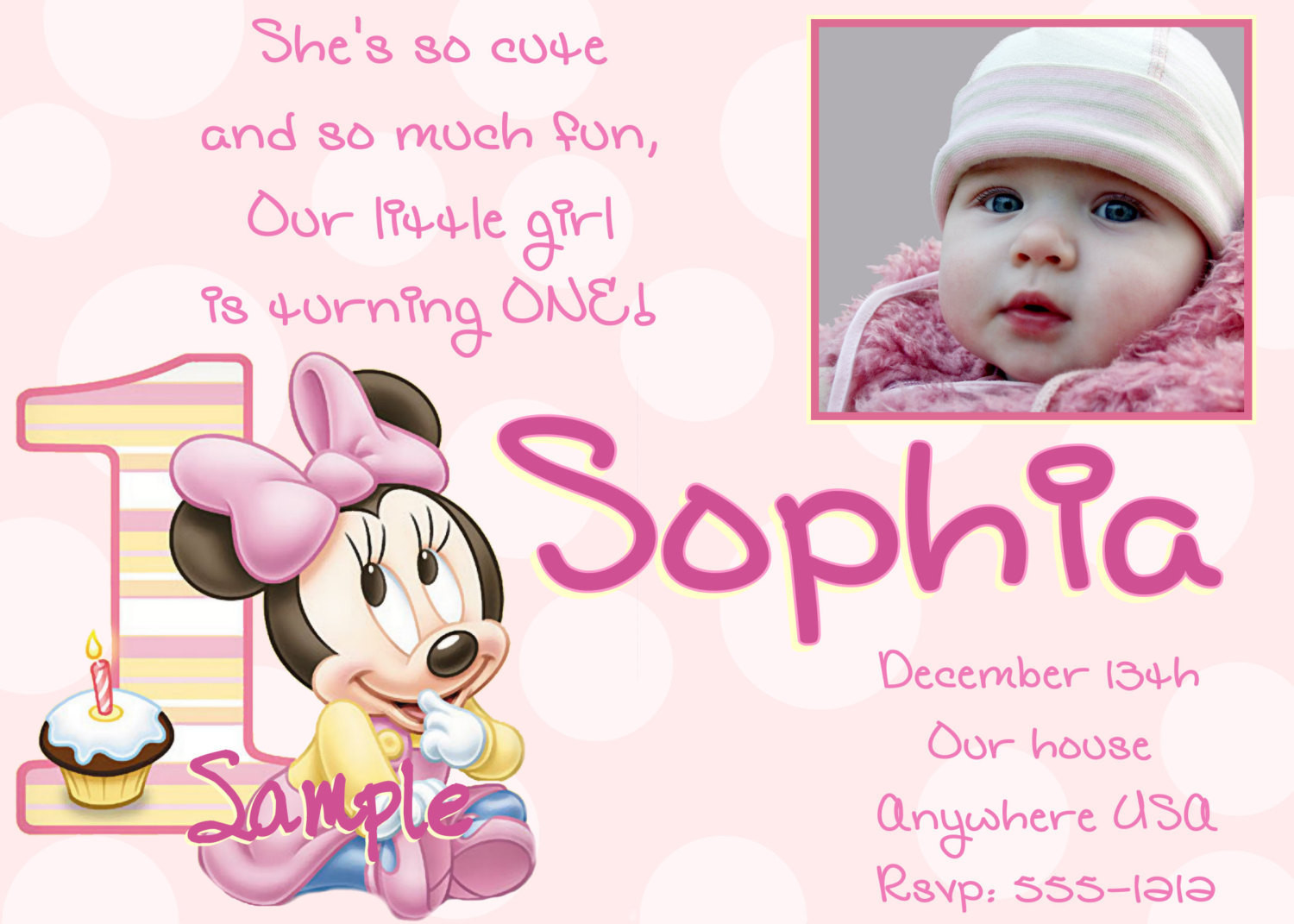 Best ideas about 1st Birthday Minnie Mouse Invitations . Save or Pin Minnie Mouse 1st Birthday Invitations Printable Digital File Now.