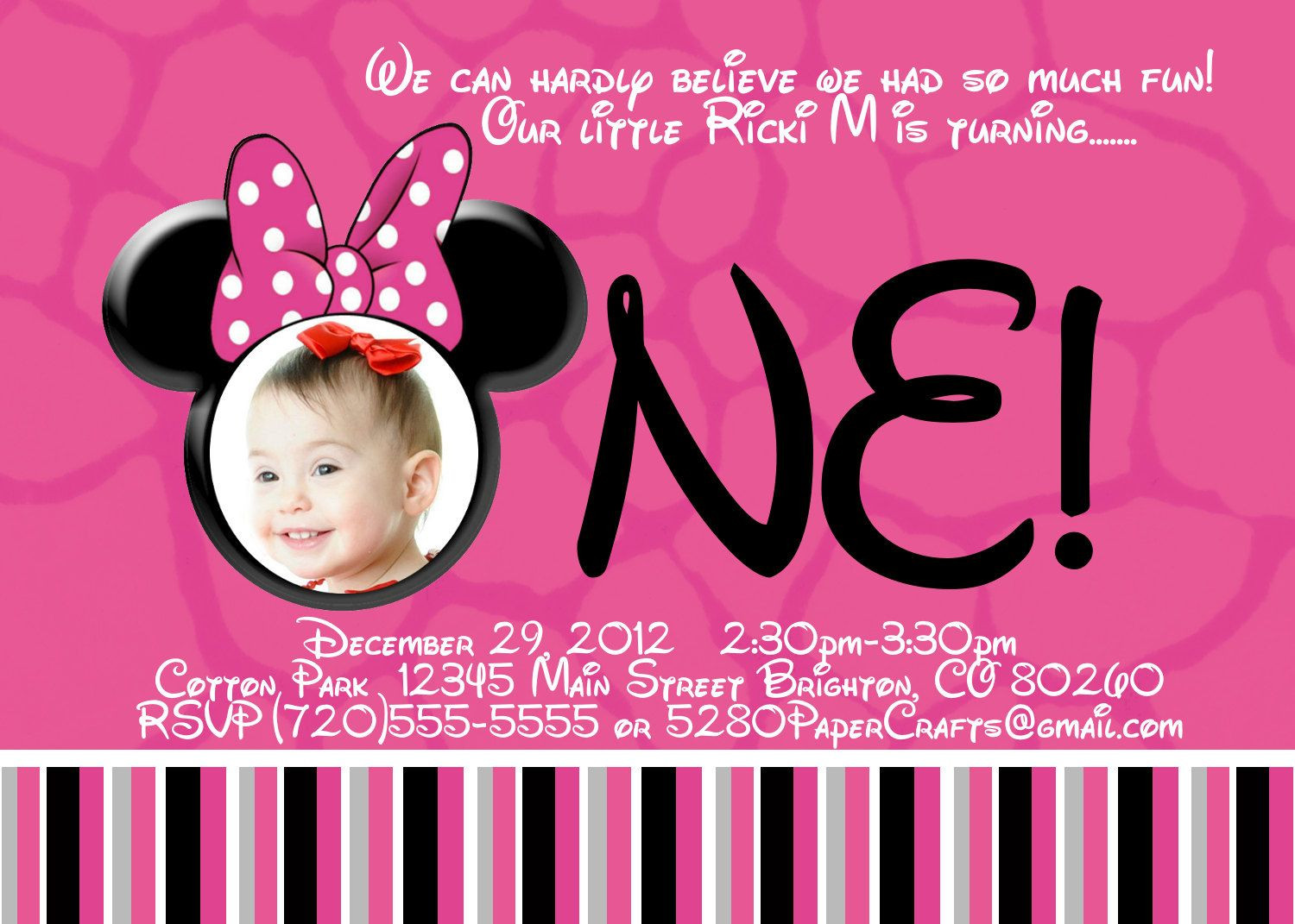 Best ideas about 1st Birthday Minnie Mouse Invitations . Save or Pin Free Printable Minnie Mouse 1st Birthday Invitations Now.