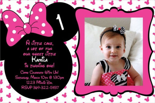 Best ideas about 1st Birthday Minnie Mouse Invitations . Save or Pin 20 Minnie Mouse Birthday Invitation Templates PSD AI Now.