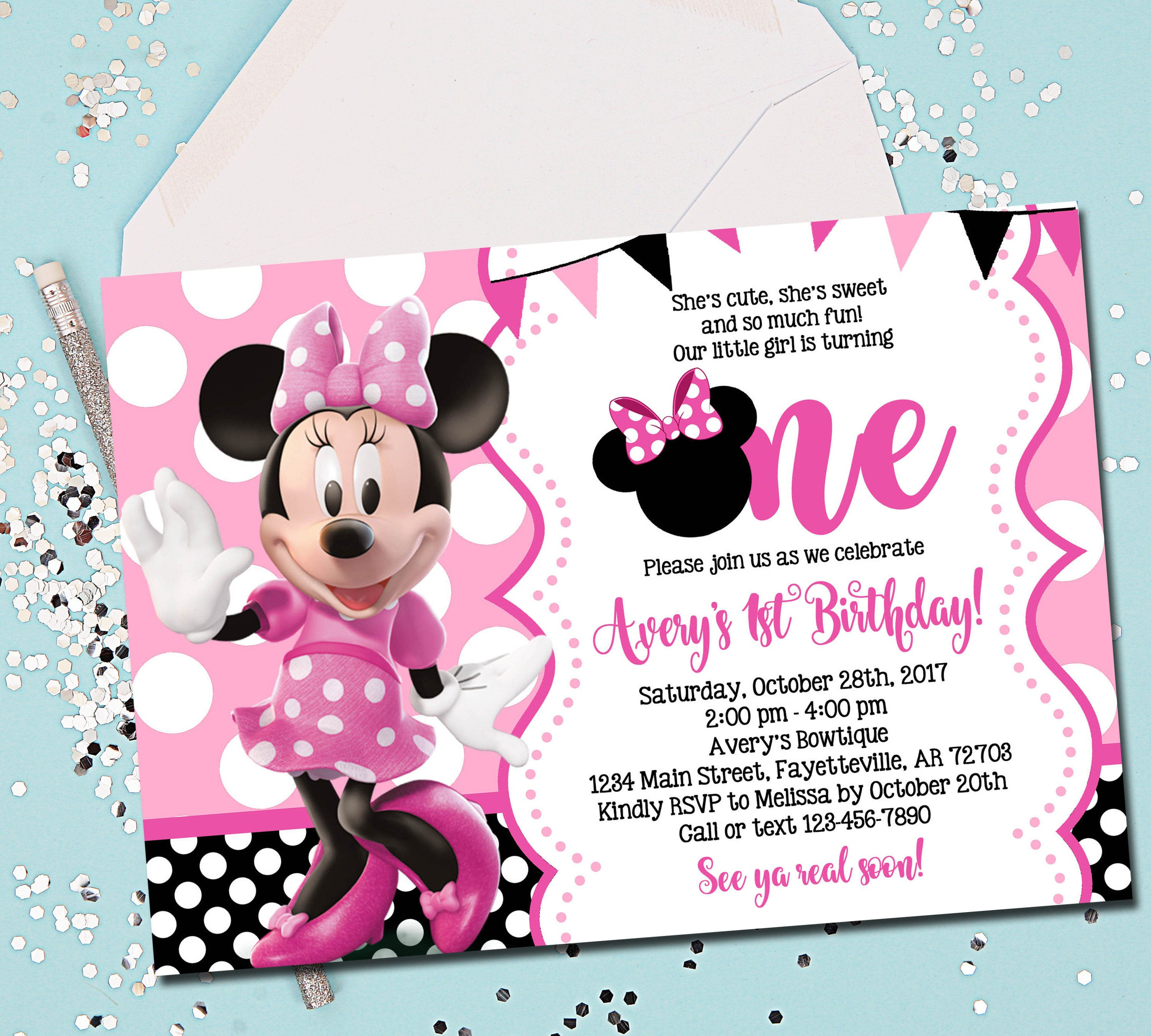 Best ideas about 1st Birthday Minnie Mouse Invitations . Save or Pin MINNIE MOUSE INVITATION Minnie Mouse Birthday Invitation Now.