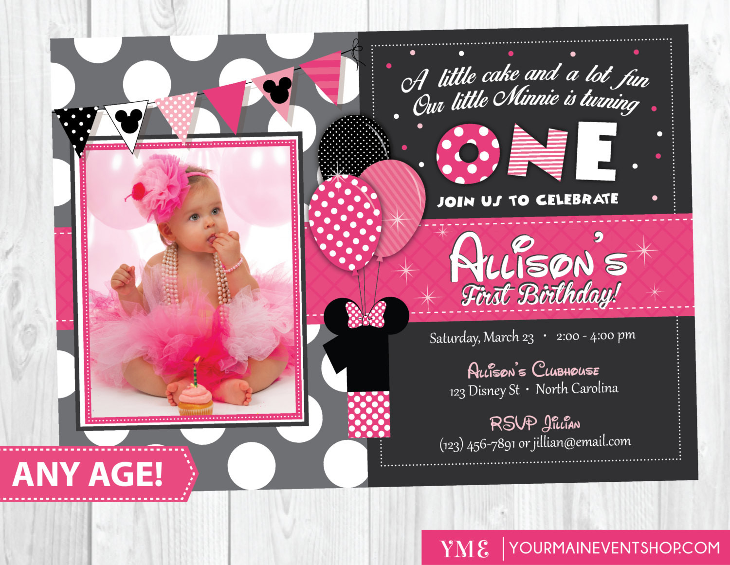 Best ideas about 1st Birthday Minnie Mouse Invitations . Save or Pin Minnie Mouse Birthday Invitation Minnie Mouse Inspired Now.