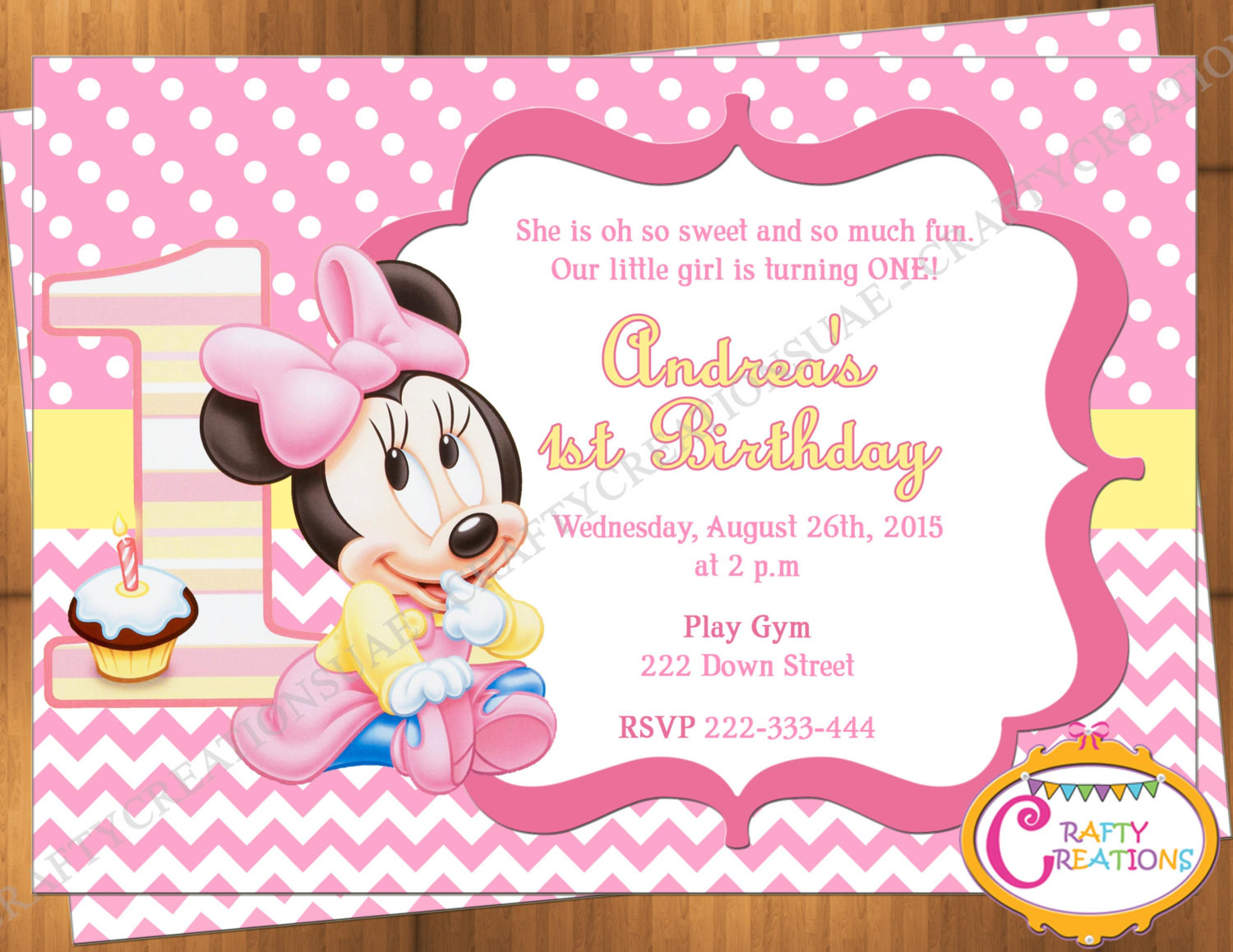 Best ideas about 1st Birthday Minnie Mouse Invitations . Save or Pin Baby Minnie Mouse First Birthday Invitation Minnie Mouse 1st Now.