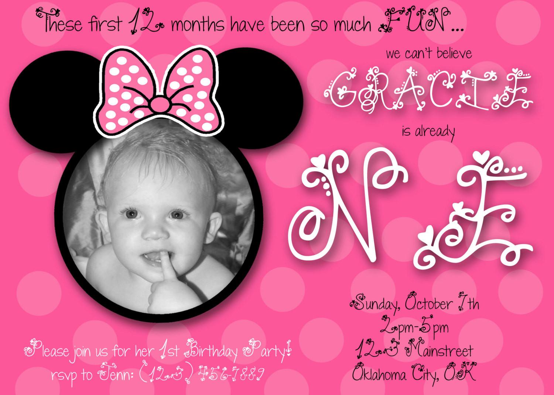 Best ideas about 1st Birthday Minnie Mouse Invitations . Save or Pin Minnie Mouse First Birthday Custom Invitation by chloemazurek Now.