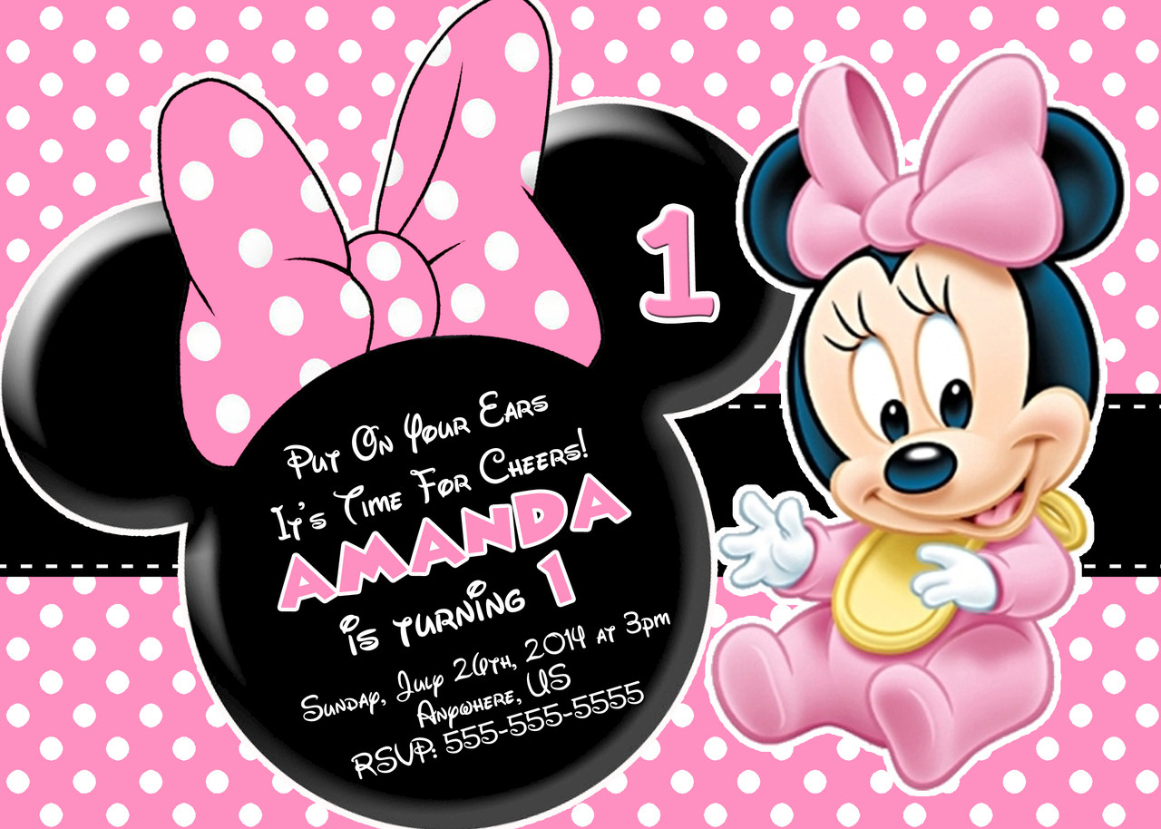 Best ideas about 1st Birthday Minnie Mouse Invitations . Save or Pin Minnie Mouse First Birthday Invitations Now.