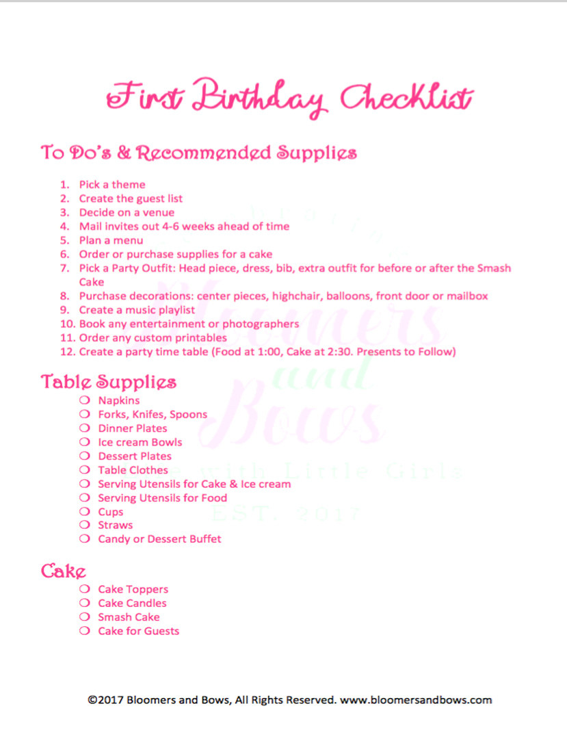 Best ideas about 1st Birthday Party Checklist . Save or Pin How to Plan a First Birthday Party Bloomers and Bows Now.
