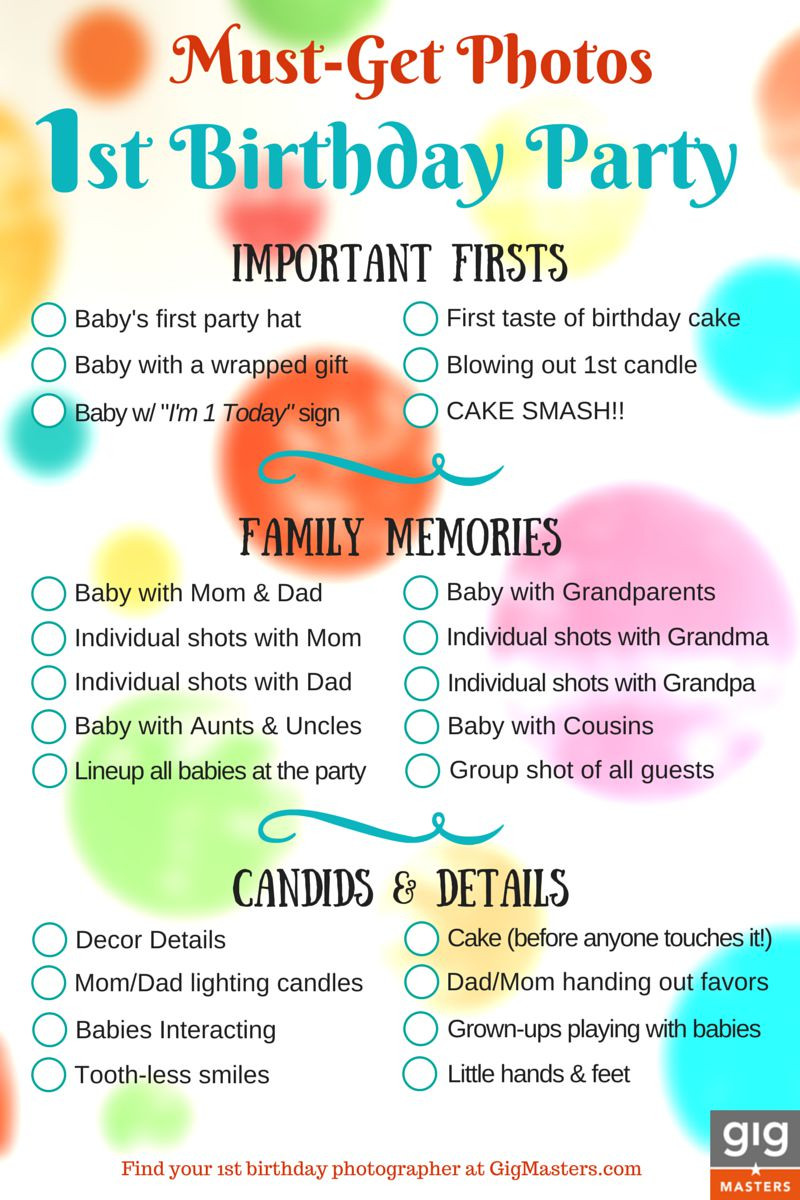 Best ideas about 1st Birthday Party Checklist . Save or Pin Hire a grapher for Your 1st Birthday Party Now.