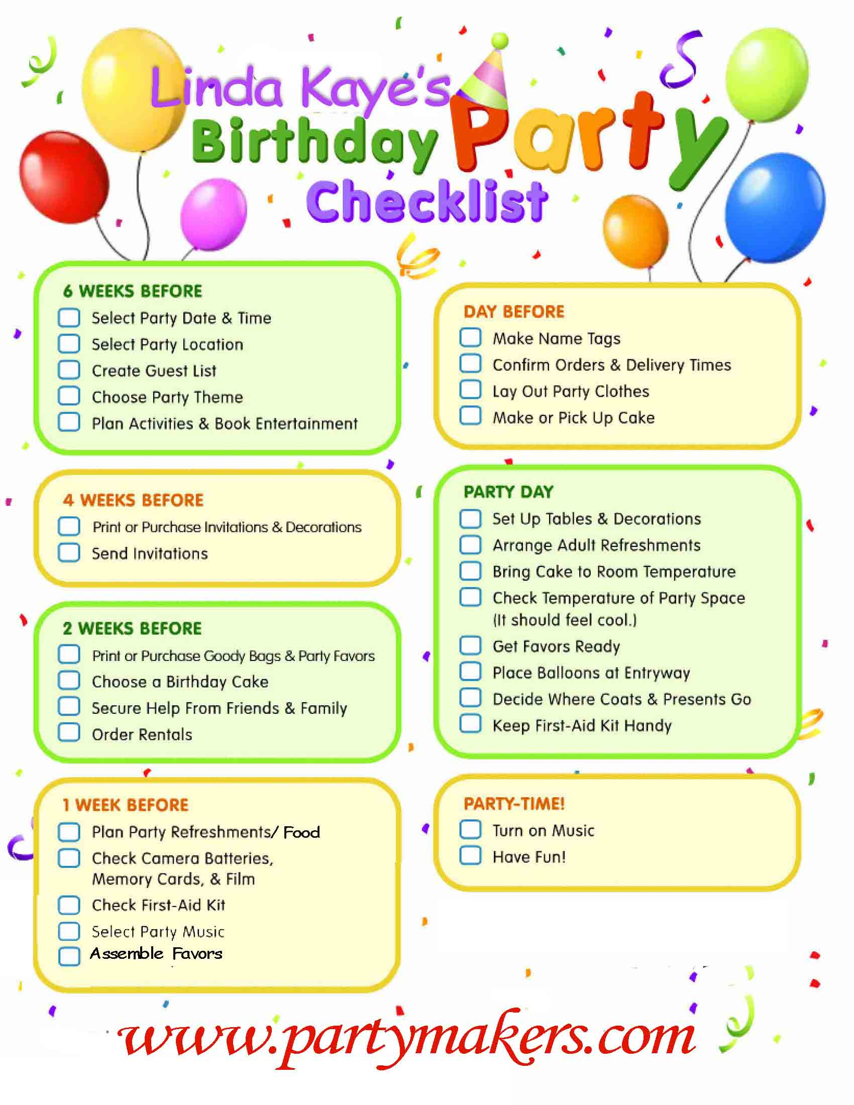 Best ideas about 1st Birthday Party Checklist . Save or Pin Party Tips — Linda Kaye's Partymakers Now.