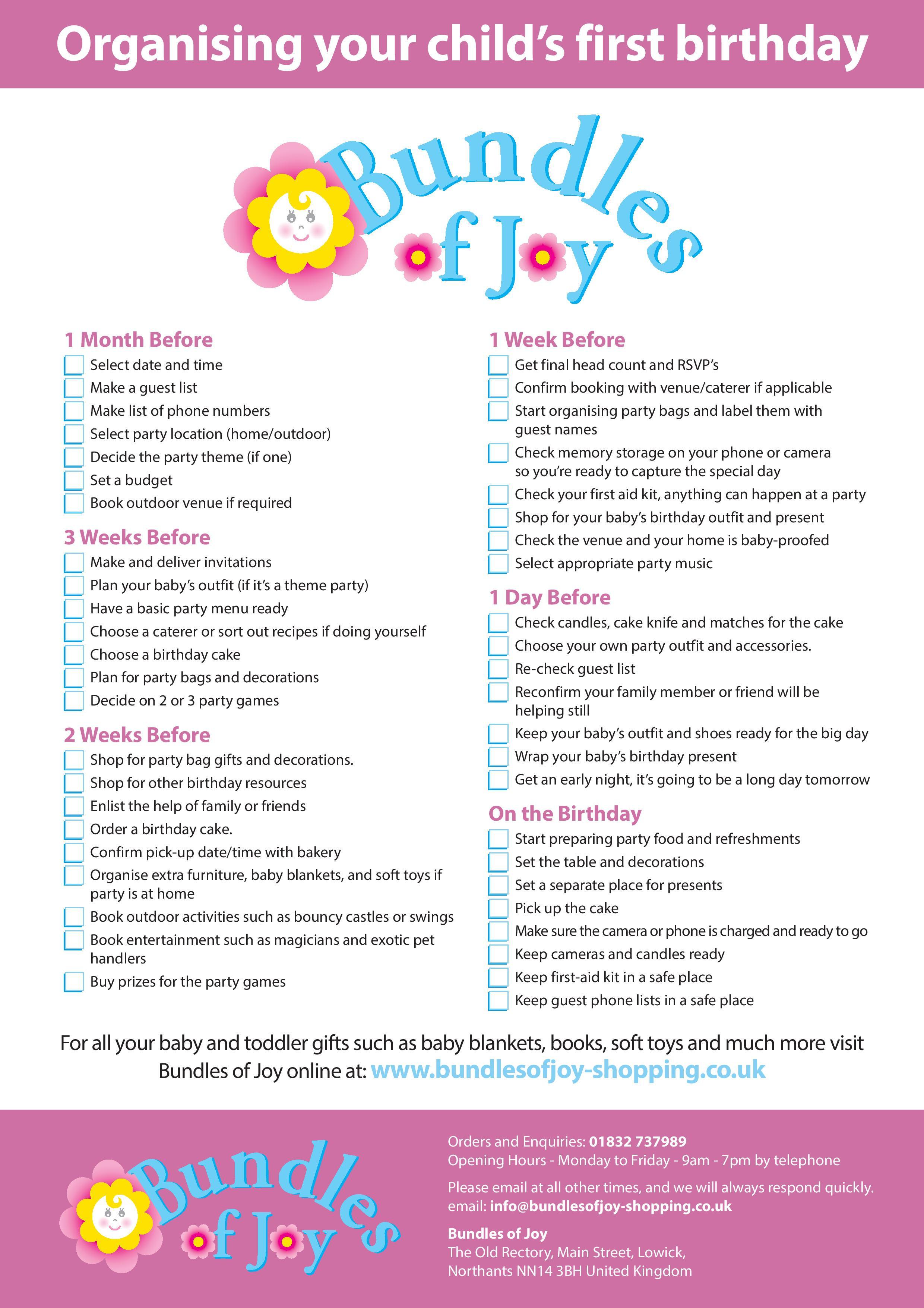 Best ideas about 1st Birthday Party Checklist . Save or Pin 1st Birthday Checklist Bundles of Joy Now.