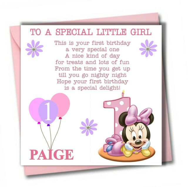 Best ideas about 1st Birthday Wishes For Daughter . Save or Pin Personalised Minnie Girl Daughter Granddaughter Babies Now.