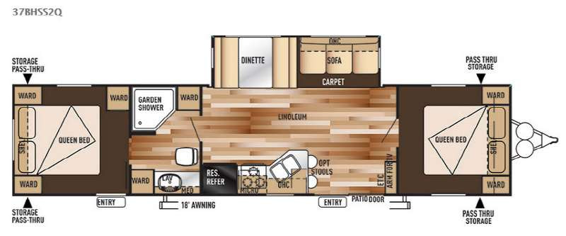 Best ideas about 2 Bedroom Travel Trailer . Save or Pin New 2015 Forest River RV Wildwood 37BHSS2Q Travel Trailer Now.