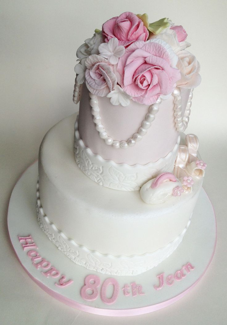Best ideas about 2 Tier Birthday Cake . Save or Pin 80th Birthday Cake 2 Tier Now.