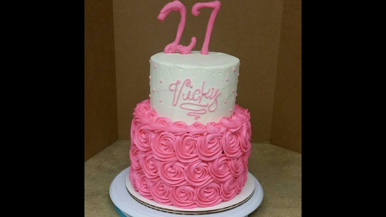 Best ideas about 2 Tier Birthday Cake . Save or Pin 2 Tier Rosette Birthday Cake Cake Decorating Now.