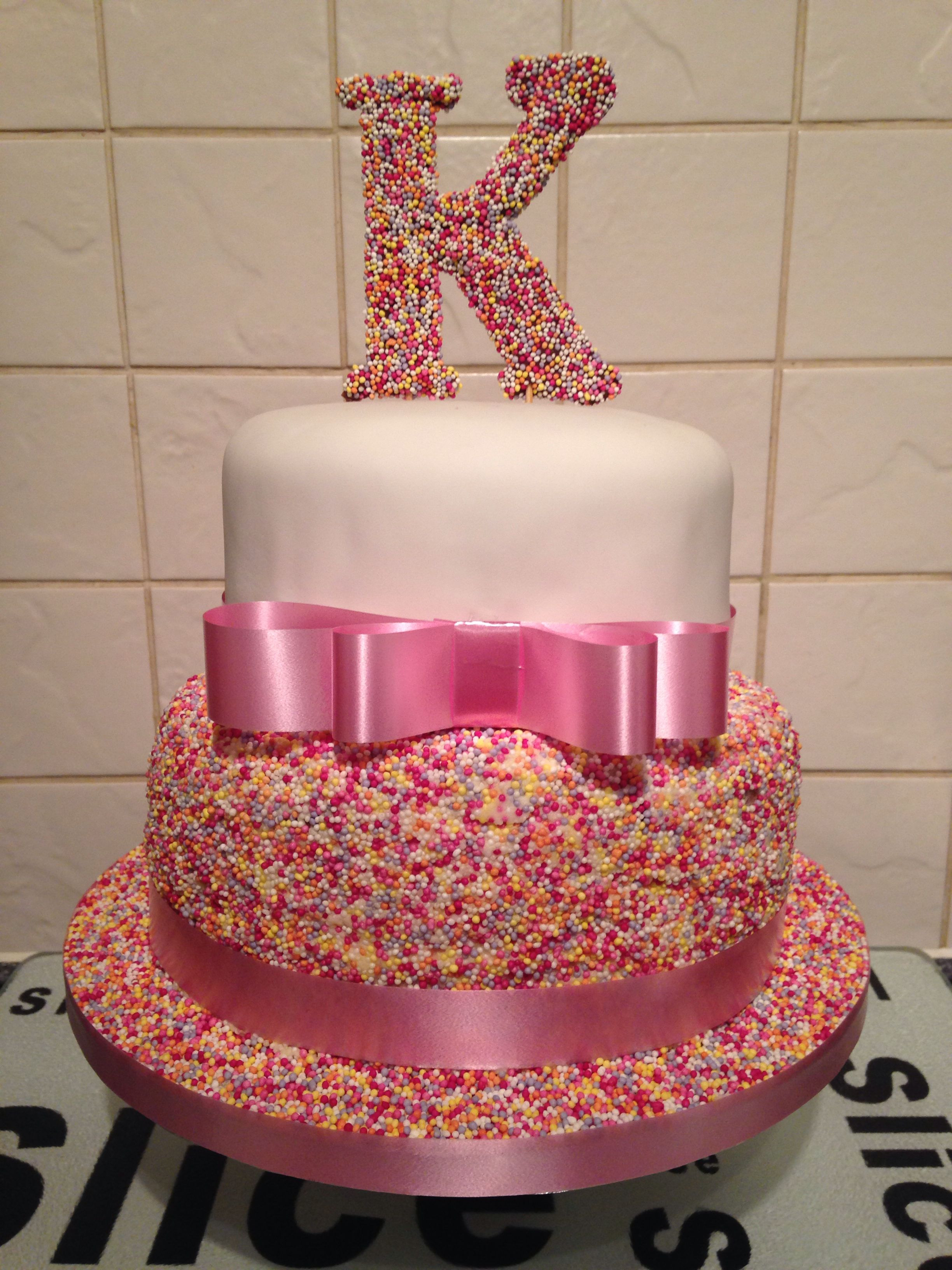 Best ideas about 2 Tier Birthday Cake . Save or Pin Girls 2 Tier Sprinkle 18th Birthday Cake Now.