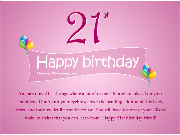 Best ideas about 21 Birthday Quotes . Save or Pin 21st Birthday Wishes Messages and Greetings Now.