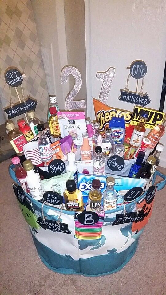 Best ideas about 21 Year Old Gift Ideas . Save or Pin 21st Birthday Basket Gift baskets Now.