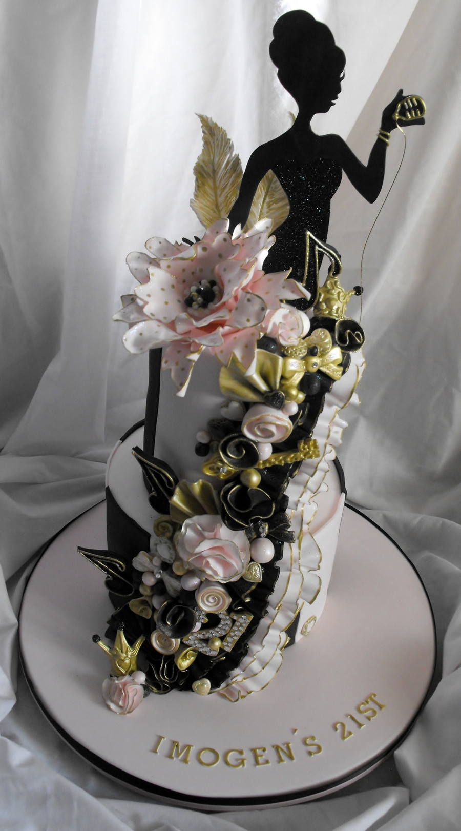 Best ideas about 21st Birthday Cake . Save or Pin 2 Tier Pink Black And Gold 21St Birthday Cake Now.