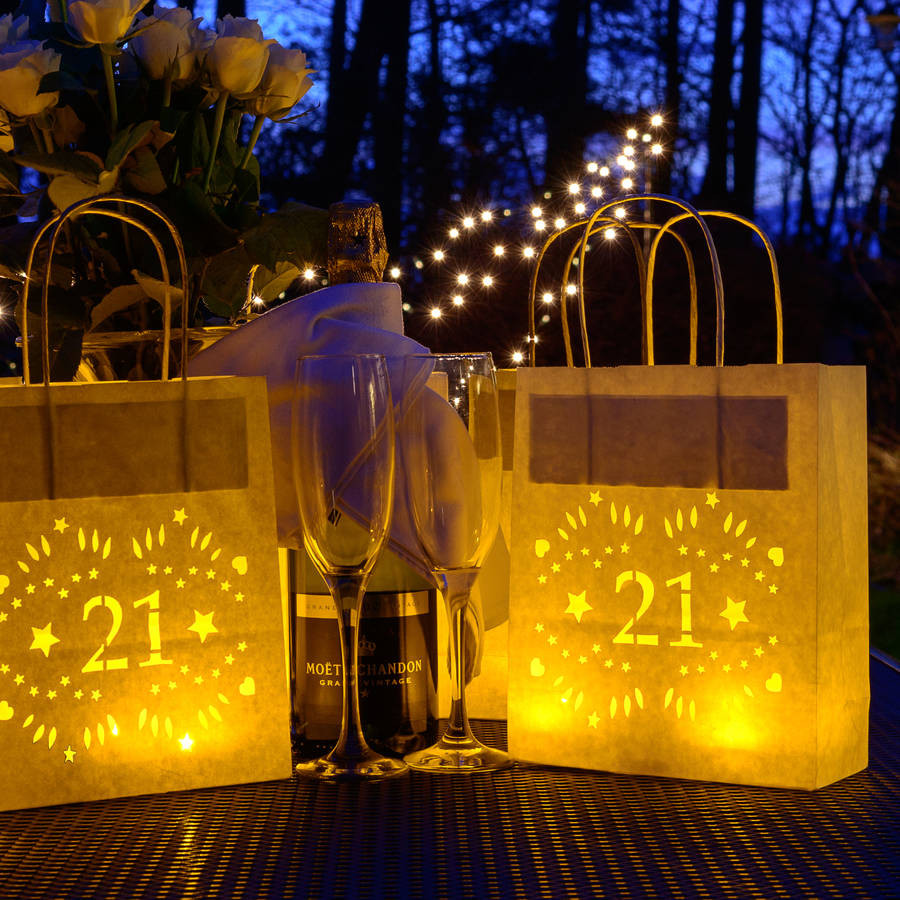 Best ideas about 21st Birthday Decorations . Save or Pin 21st birthday party decoration lantern bag by baloolah Now.