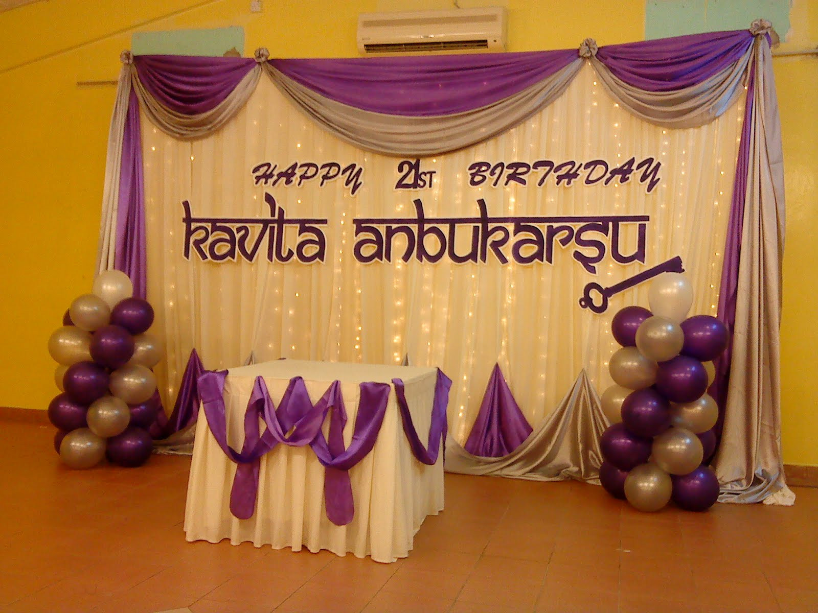 Best ideas about 21st Birthday Decorations . Save or Pin Raags Management Services 21st Birthday Deco purple & white Now.