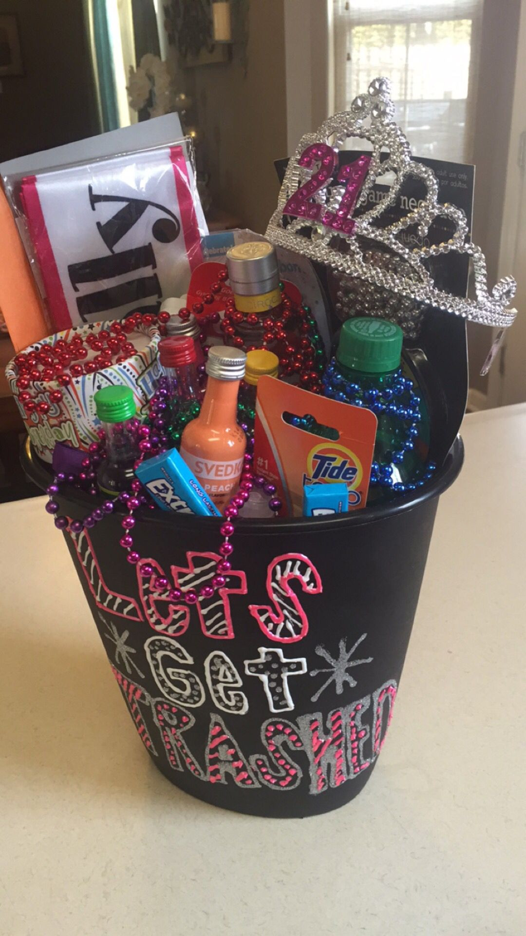 "Best ideas about 21St Birthday Gift Ideas For Girlfriend . Save or Pin 21st birthday t In a trash can saying ""let s Now."