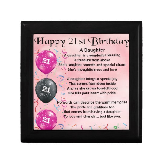 Best ideas about 21st Birthday Quotes For Daughter . Save or Pin Daughter Poem 21st Birthday Keepsake Box Now.